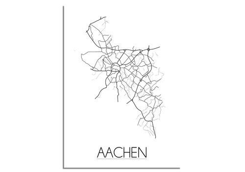 DesignClaud Grundriss Stadtplan Aachen plakat - Schwarz Weiß Grau
