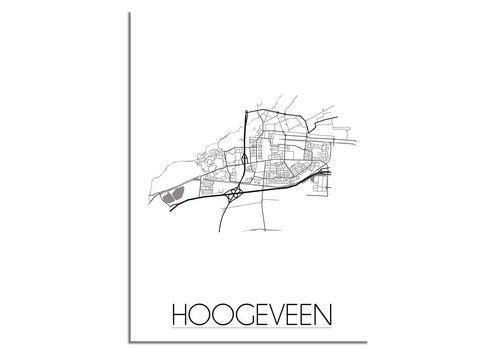 DesignClaud Plattegrond Hoogeveen stadskaart poster - Zwart wit grijs