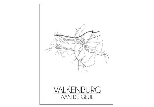 DesignClaud Grundriss Stadtplan Valkenburg aan de Geul plakat - Schwarz Weiß Grau