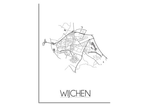 DesignClaud Grundriss Stadtplan Wijchen plakat - Schwarz Weiß Grau