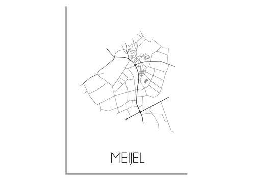 DesignClaud Grundriss Stadtplan Meijel plakat - Schwarz Weiß Grau