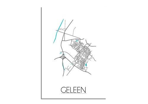 DesignClaud Plattegrond Geleen stadskaart poster - Zwart wit blauw