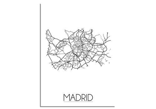 DesignClaud Madrid - Stadskaart - Plattegrond - Interieur poster - Grijs wit
