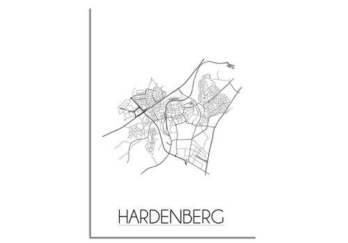 DesignClaud Plattegrond Hardenberg stadskaart poster - Zwart wit grijs