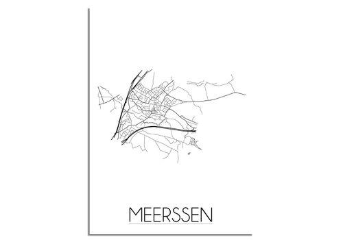 DesignClaud Plattegrond Meerssen stadskaart poster - Zwart wit grijs