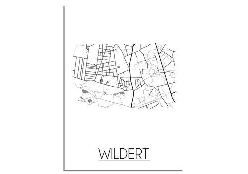 DesignClaud Grundriss Stadtplan Wildert plakat - Schwarz Weiß Grau