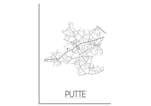 DesignClaud Grundriss Stadtplan Putte plakat - Schwarz Weiß Grau