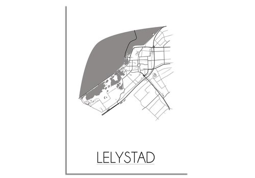 DesignClaud Grundriss Stadtplan Lelystad plakat - Schwarz Weiß Grau