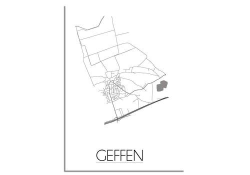 DesignClaud Plattegrond Geffen stadskaart poster - Zwart wit grijs