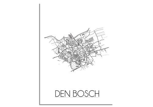 DesignClaud Plattegrond Den Bosch stadskaart poster - Zwart wit grijs