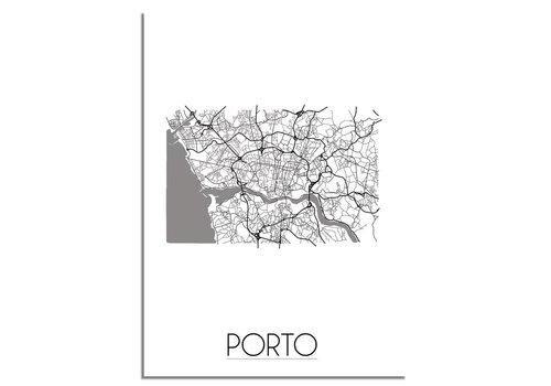 DesignClaud Grundriss Stadtplan Porto plakat - Schwarz Weiß Grau