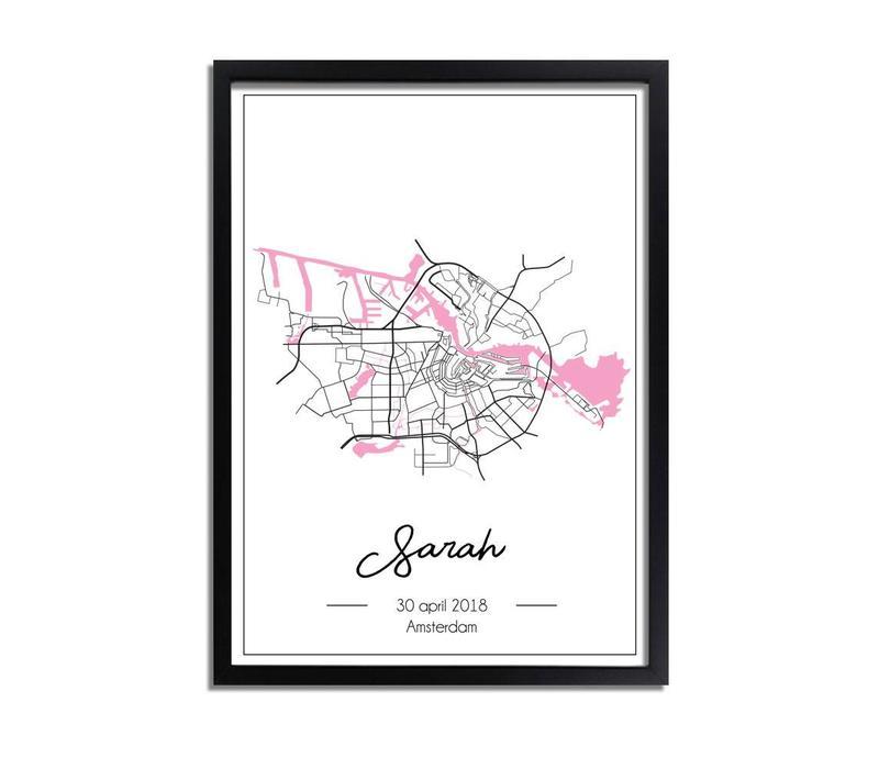 Geboorteposter Roze - Stadskaart – Geboorteplaats Kraamcadeau