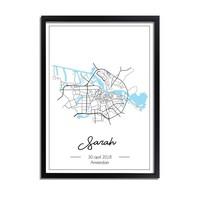 Geboorteposter Blauw - Stadskaart - Geboorteplaats