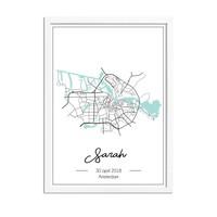 Geboorteposter Mint groen - Stadskaart - Geboorteplaats