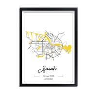 Geboorteposter Geel - Stadskaart – Geboorteplaats Kraamcadeau