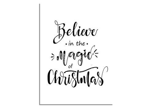 DesignClaud Kerstposter Believe in the magic of Christmas - Kerstdecoratie Zwart wit