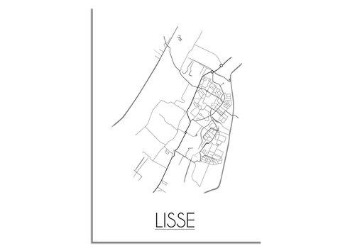 DesignClaud Plattegrond Lisse stadskaart poster - Zwart wit grijs