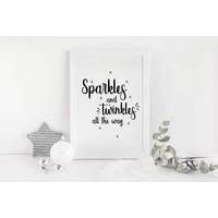 Kerstposter Sparkles and Twinkles all the way - Kerstdecoratie Zwart wit