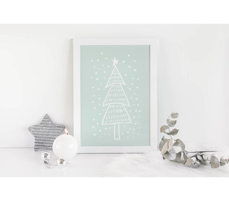 Kerstboom - Handgetekend - Kerst poster - Interieur poster - Wanddecoratie - Tekst poster - Mint