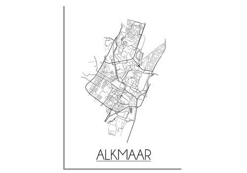 DesignClaud Plattegrond Alkmaar stadskaart poster - Zwart wit grijs