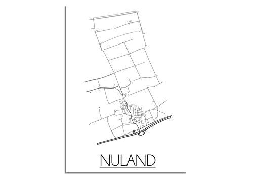 DesignClaud Grundriss Stadtplan Nuland plakat - Schwarz Weiß Grau