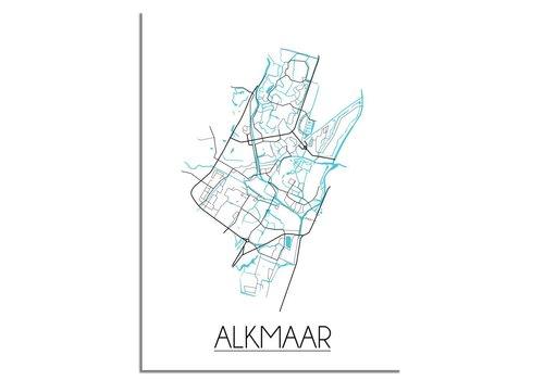 DesignClaud Plattegrond Alkmaar stadskaart poster - Zwart wit blauw