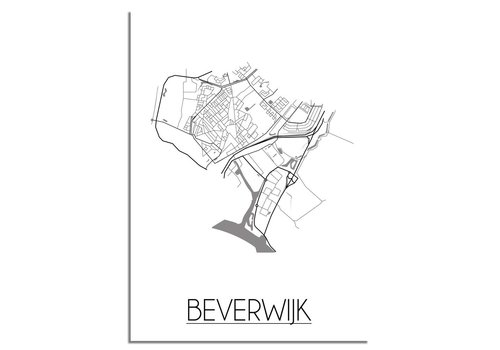 DesignClaud Plattegrond Beverwijk stadskaart poster - Zwart wit grijs