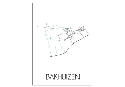 DesignClaud Plattegrond Bakhuizen stadskaart poster - Zwart wit grijs