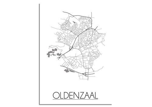 DesignClaud Plattegrond Oldenzaal stadskaart poster - Zwart wit grijs