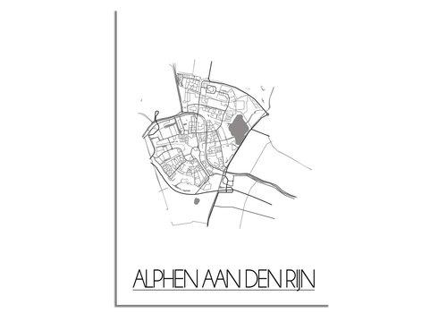 DesignClaud Grundriss Stadtplan Alphen aan den Rijn plakat - weiß