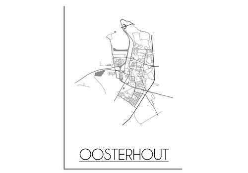DesignClaud Plattegrond Oosterhout Stadskaart poster – Wit grijs zwart