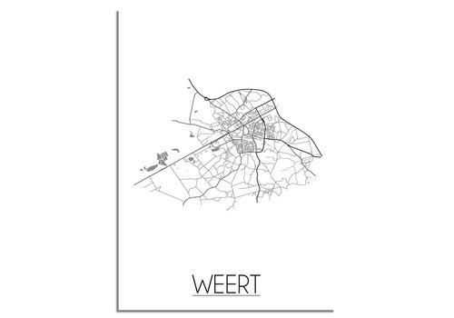 DesignClaud Plattegrond Weert Stadskaart poster – Wit grijs zwart