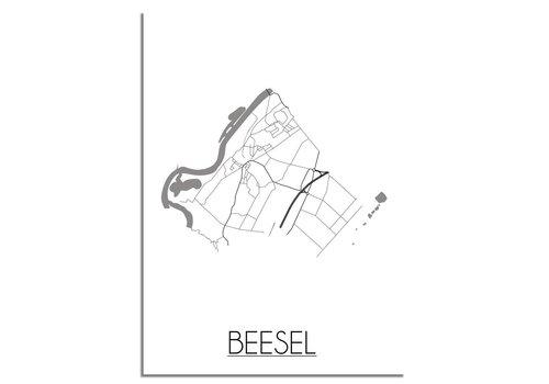DesignClaud Plattegrond Beesel Stadskaart poster – Wit grijs zwart