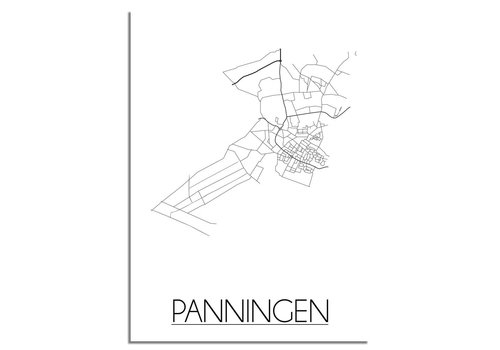 DesignClaud Panningen Stadtplan poster plakat - Weiß grau schwarz