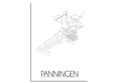 DesignClaud Plattegrond Panningen Stadskaart poster – Wit grijs zwart