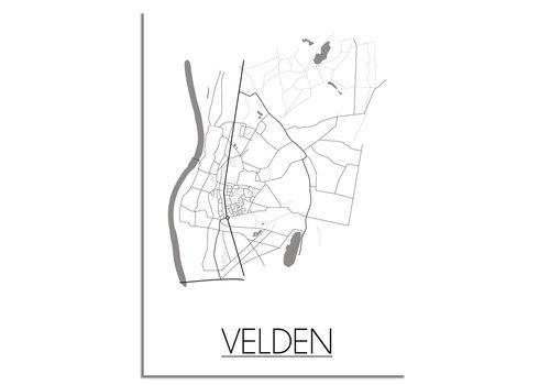 DesignClaud Plattegrond Velden Stadskaart poster – Wit grijs zwart