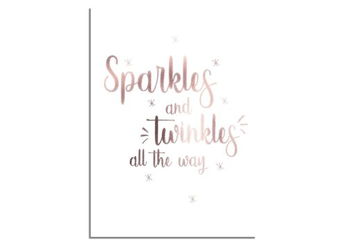 DesignClaud Kerstposter Sparkles and Twinkles all the way - Kerstdecoratie Koper folie + wit