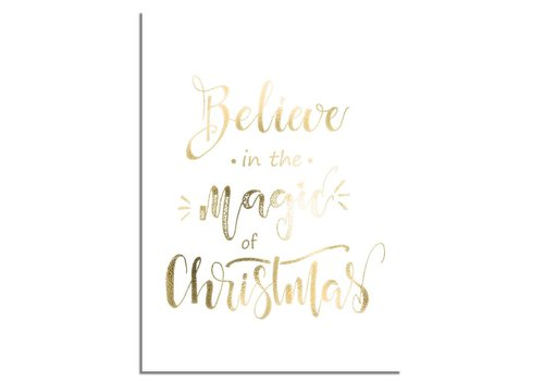 DesignClaud Kerstposter Believe in the magic of Christmas - Kerstdecoratie Goudfolie + wit