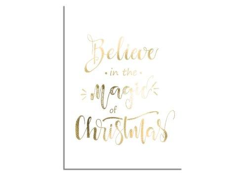 DesignClaud Weihnachtsposter Glauben Sie an die Magie von Weihnachten - Weihnachtsdekoration Goldfolie + Weiß