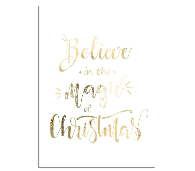 Kerstposter Believe in the magic of Christmas - Kerstdecoratie Goudfolie + wit