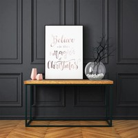Kerstposter Believe in the magic of Christmas - Kerstdecoratie Koper folie + wit