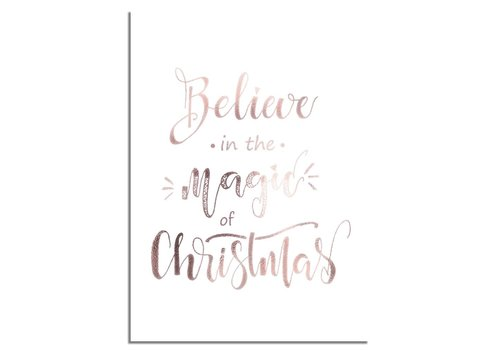 DesignClaud Kerstposter Believe in the magic of Christmas - Kerstdecoratie Koper folie + wit