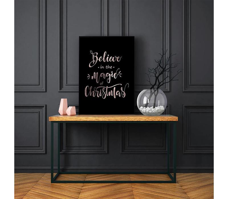 Kerstposter Believe in the magic of Christmas - Kerstdecoratie Koper folie + zwart
