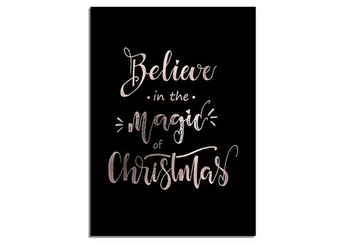 DesignClaud Kerstposter Believe in the magic of Christmas - Kerstdecoratie Koper folie + zwart