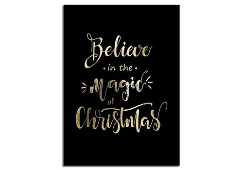 DesignClaud Kerstposter Believe in the magic of Christmas - Kerstdecoratie Goudfolie + zwart