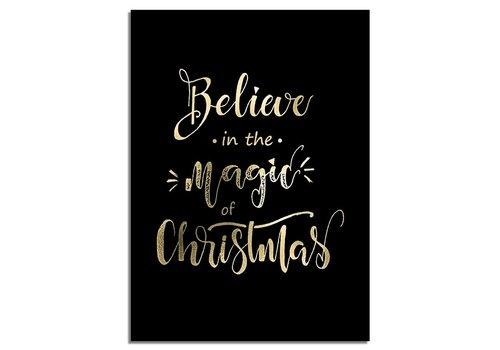 DesignClaud Weihnachtsposter Glauben Sie an die Magie von Weihnachten - Weihnachtsdekoration Goldfolie + Schwarz