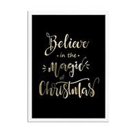 Kerstposter Believe in the magic of Christmas - Kerstdecoratie Goudfolie + zwart