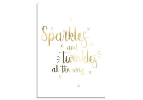 DesignClaud Kerstposter Sparkles and Twinkles all the way - Kerstdecoratie Goudfolie + wit