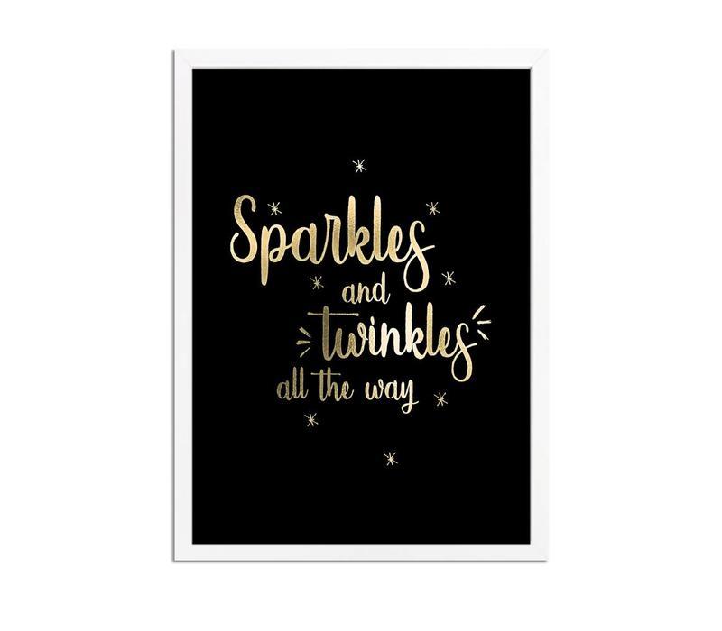Kerstposter Sparkles and Twinkles all the way - Kerstdecoratie Goudfolie + zwart