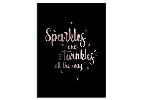 DesignClaud Kerstposter Sparkles and Twinkles all the way - Kerstdecoratie Koper folie + zwart